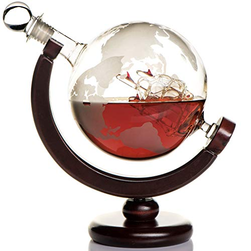 Whiskey Globe Decanter (28 Ounce) Etched World Globe Decanter Set for...