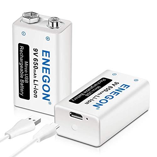 ENEGON 9V 充電式 電池(650mAh 2個)+2in1 Micro USB充電ケーブル、USB入力、マイク、煙探知器、電子玩具、おもちゃ、トランシーバーなどのデバイスに対応 充電器不要
