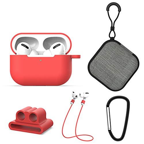 XTbabe 5 Pcs Hülle Kompatibel mit Apple AirPods Pro Schutzhülle Weich Silikonhülle Abdeckung Stoßfest Schutz Tasche für AirPods Pro (rot)