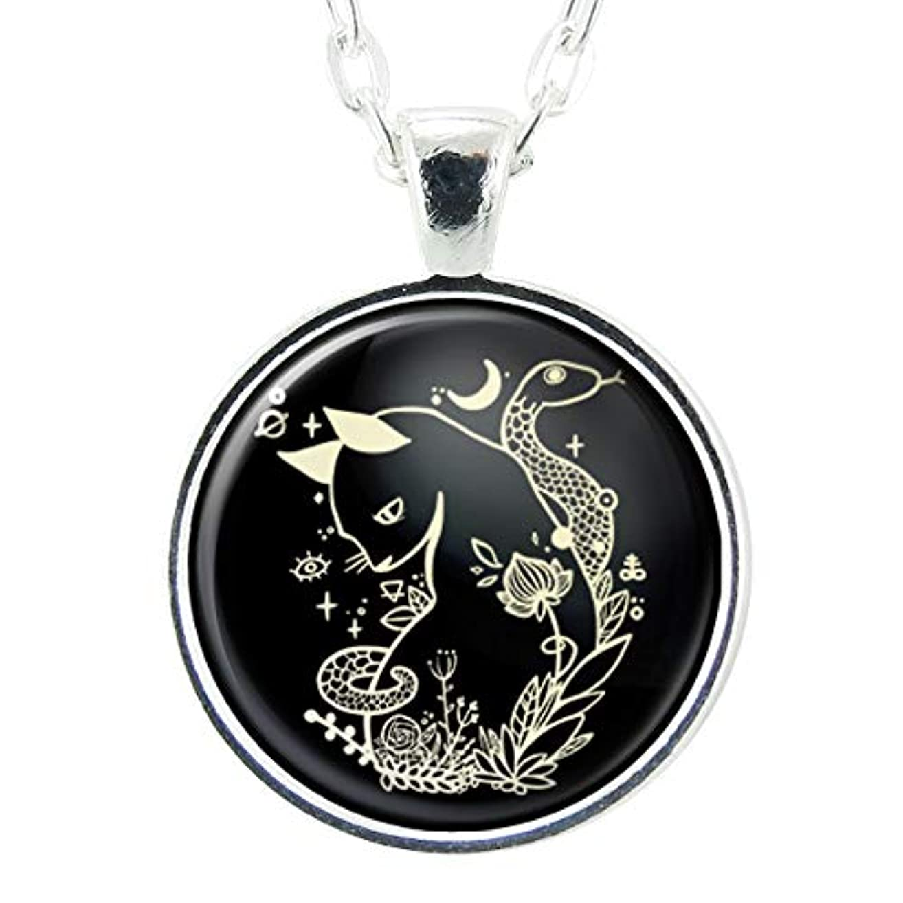 Cat And Snake Handmade Art Pendant Necklace, Black Charm With Chain