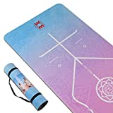 4W Suede TPE Yoga Mat Eco Friendly Non Slip Yoga Mats with Carrying Strap 72'x 24' Extra Thick 1/4' Exercise & Workout Mat for Yoga Pilates Home Fitness