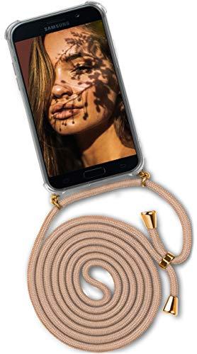 OneFlow® Handykette + Hülle passend für Samsung Galaxy A3 (2017) | Stylische Kordel Kette - Kristallklare Handyhülle mit Band zum Umhängen in Gold Beige