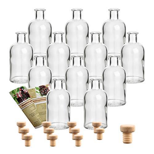 gouveo 12er Set Flasche Apotheker 100 ml inkl. Holzgriffkorken, Likörflasche, Schnapsflasche