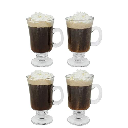 Irish Coffee Glass Coffee Mugs Footed Regal Shape 8 oz. Set of 4 Thick Wall Glass Cappuccinos, Mulled Ciders, Hot Chocolates, Ice cream and More!