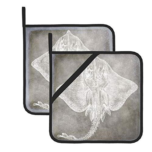 Pot Holders for Kitchen,Coastal Watercolor Sting Ray Skate Pewter Neutral Heat Resistant Square Pot Holder Trivet Cooking Baking Dual-Function Hot Pad, 2-Piece