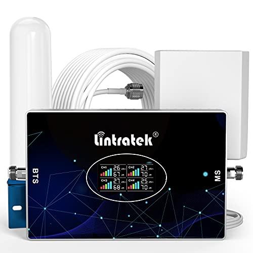 Lintratek Amplificatore di segnale per telefono cellulare 4 quattro banda B20 800 900 1800 2100 ripetitore GSM 2G 3G 4G 70dB Ripetitore di segnale per cellulari