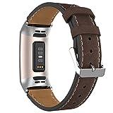 Adepoy Correa de piel para Fitbit Charge 3, auténtica correa de piel clásica ajustable compatible co...