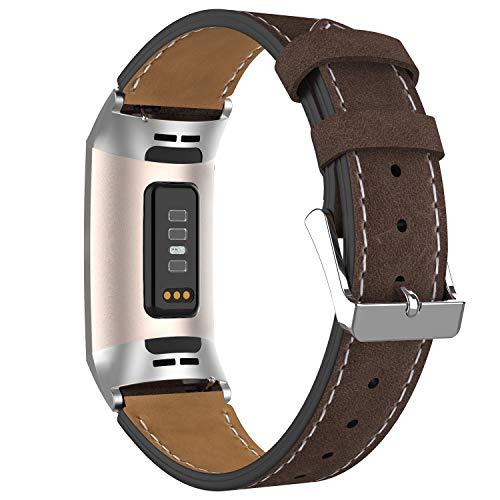 Adepoy für Fitbit Charge 3 Armband Leder, Echtes Klassisches Einstellbares Lederarmband Kompatibel mit Fitbit Charge 3 und Charge 3 Sonderedition (Kaffeebraun)