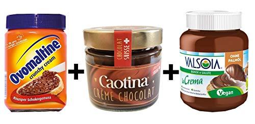 Ovomaltine Crunchy Cream 380g + Caotina Creme 300g + Valsoia la Crema ? die vegane Aufstrichcreme 400g   Probierangebot   3er Pack