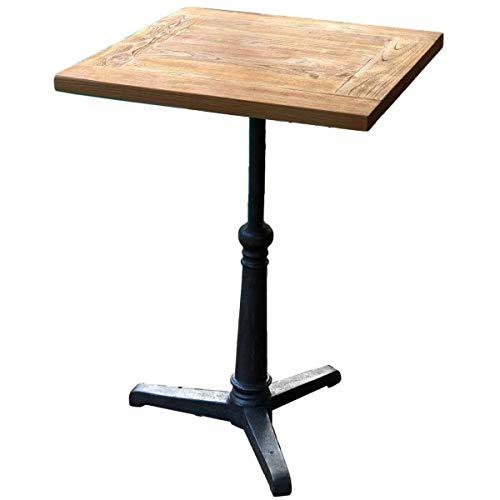 MATHI DESIGN BISTROT - Table Haute carrée 60 cm Acier et Bois Massif