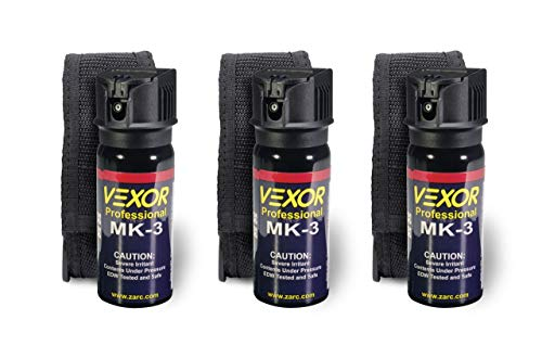 Vexor Pepper Spray w/ Holster for self defense - 3 Pack, Maximum Police Strength, 20-foot range, Full Axis (360°) capability, Flip Top safety for Quick and Accurate Aim, Protection for Women and Men