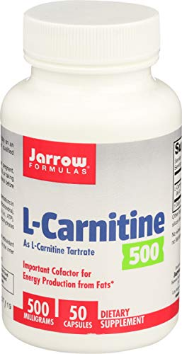 Jarrow Formulas L-Carnitine, Supports Brain, Memory, Energy, Cardiovascular Health, 500 mg, 50 Caps