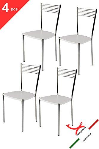 t m c s Tommychairs - Set 4 sedie Elegance per Cucina, Bar e Sala da Pranzo, Robusta Struttura in Acciaio Cromato e Seduta in Legno Color Bianco