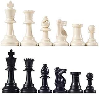 WHHHuan 32pcs Pièces d'échecs en Plastique Complete Chessmen International Word Chess Ensemble Black & White Chess Piece D...