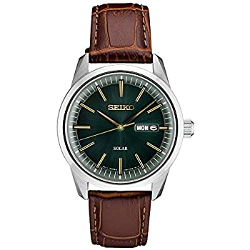 Seiko Men s Stainless Steel Japanese Quartz Leather Calfskin Strap Brown 0 Casual Watch  Model  SNE529