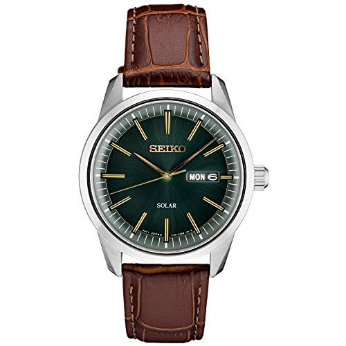 Seiko Men's Stainless Steel Japanese Quartz Leather Calfskin Strap, Brown, 0 Casual Watch (Model: SNE529)