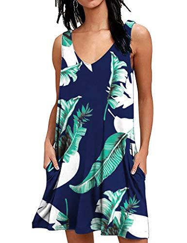 AUSELILY T-Shirt Casual Estiva da Donna Abiti da Spiaggia Copricostume Abito a Tinta Unita a Pieghe(Stampa Blu,2XL)