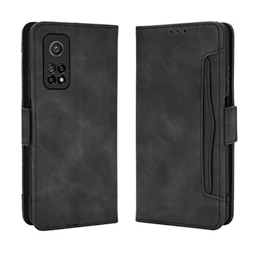 Lederhülle für Xiaomi Mi 10T 5G/Xiaomi Mi 10T Pro 5G Hülle, Flip Hülle Schutzhülle Handy mit Kartenfach Stand & Magnet Funktion als Brieftasche, Tasche Cover Etui Handyhülle für Mi 10T, Schwarz