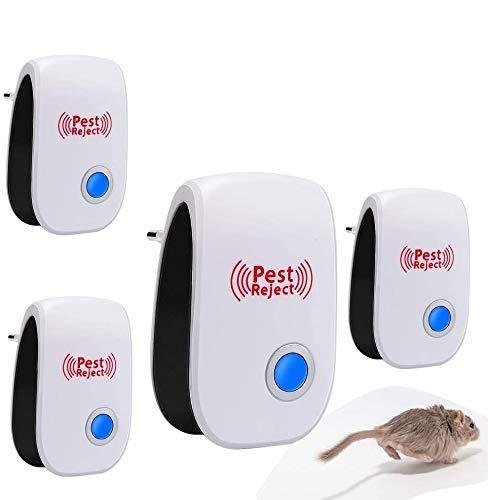 Ultraschall Schädlingsbekämpfer, HIBOER 4 Stück Multifunctional Ultrasound Moskitoschutz Mäuseabwehr gegen Indoor Mäuse, Moskito, Ameisen und andere Insekten