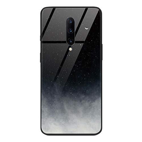 ZhuoFan OnePlus 7 Pro Gehärtetes Glas Hülle mit Muster Motiv Handyhülle [Stoßfest] [Kratzfest] TPU Silikon Rahmen Glasrückseite Glashülle Schutzhülle für OnePlus 7 Pro, Schwarz Grau