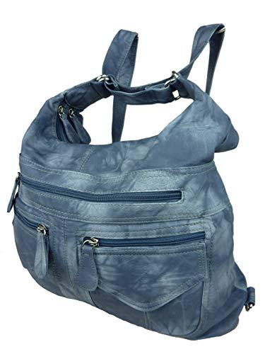 Rucksacktasche I 2in1 Damen Rucksack und Handtasche in Einem I Schultertasche einfarbig Uni und Batik I Damen-Tasche sportlich & leger (Jeansblau)