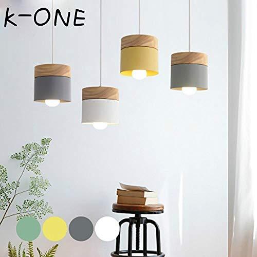 K-ONE Moderne LED Pendelleuchte Mit Holz Eisen Esszimmer Bar Cafe Restaurant Nordic Indoor Holzzylinder Hängelampe, B-Stil Khaki, 1 m weiße Schnur