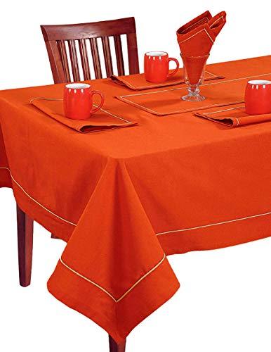 Rusty Orange Tischwäsche Set; 1 Tischdecke Rechteckig; 6 Servietten Und 1 Läufer; Frühling Wohnkultur
