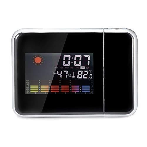 Renfengchui Despertador De Proyección Digital Estación Meteorológica con Termómetro De Temperatura Humedad Higrómetro/Reloj De Despertador Junto A La Cama Negro