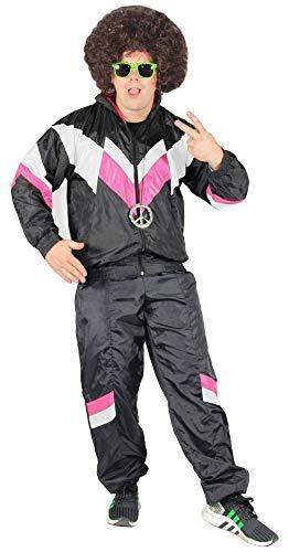 Bad Taste 80er Jahre Kostüm Trainingsanzug für Herren Jogginganzug - schwarz Weiss pink - Größe S-XXXXL, Größe:M