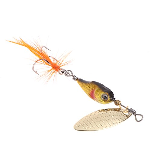 Batyuery Fishing Bait 12g Artificial Lure Spoon Hook Feather Spinner Crankbait Carp Fish