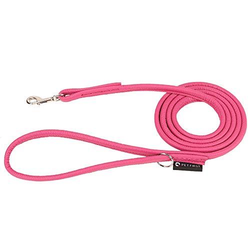 PET FIRST runde Welpen Lederleine | Hundeleine aus weichem Leder für Welpen | Niedliche und Bunte Welpen-Leine | Handgefertigt in Europa Leder-Hundeleine - Länge 180 cm - Pink