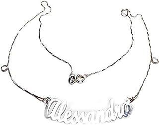 artigianale Collana 45 cm Personalizzata col Tuo Nome Curvo CURVATO Curva in Argento 925 Colore Argento SCRIVI Nome Mentre...