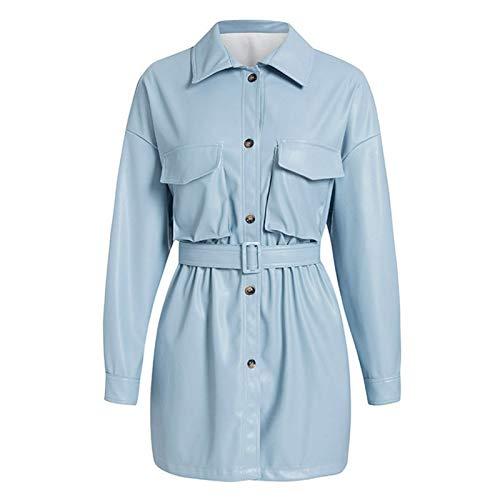 Fandy Lokar PU-Ledermäntel Frauen Mode Lose Taschen Langarm Jacken Frauen Elegante Krawatte Gürtel Taille Mäntel Weibliche Damen GC (Color : AEJK6638 Blue, Size : L)