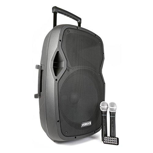 "Vexus AP1500PA Bafle Portatil 15"" / 2 micrófonos de mano inalámbricos USB / bluetooth"