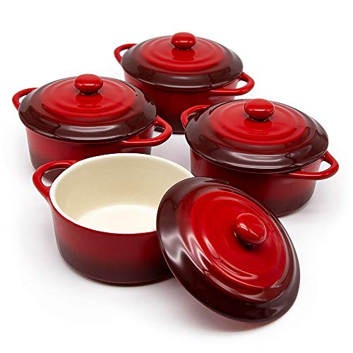 12oz Mini Cocotte, by Kook, Casserole Dish, Dutch Oven, Ceramic Make, Easy to Lift Lid, Crimson Red, Set of 4,