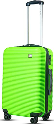 ATX Luggage Medium 24' Super Lightweight Durable Hold Check in Suitcases Travel Bags Trolley Case with 8 Wheels Built-in 3 Digit Combination Lock (Green 119)
