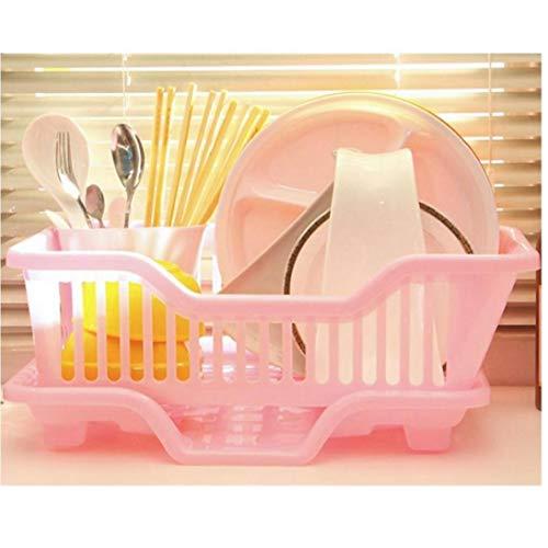 Case&Cover Plástico Ambiental Escurridor - Sink Estante para Platos Cubiertos con La Cesta Y La Bandeja De Goteo De Plástico - Cubiertos Aproximadamente 17,5 X 9,5 X 7inch 1pc (Rosa)