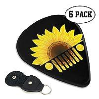 Sunflowers Jeep ヒマワリ ジープ ギターピック オシャレ ベース、カポタスト ギター、カポ アコースティックギター、ウクレレ、エレキギター用 ピック、トライアングル 6枚 セット