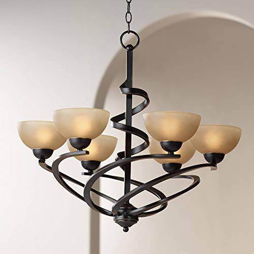 """Dark Mocha Chandelier Lighting 27 1/2"""" Wide Swirling Ribbon Rustic Amber Glass 6-Light Fixture for Dining Room House Foyer Entryway Kitchen Bedroom Living Room High Ceilings - Franklin Iron Works"""