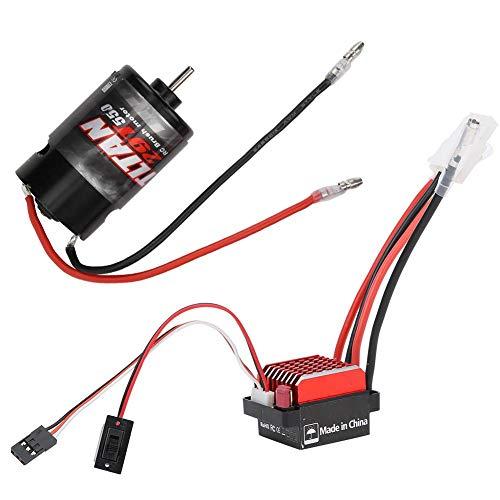 Dilwe Motore Spazzolato ESC RC, regolatore di velocità elettronico Spazzolato 360A + 550 Motore Spazzolato 1:10 Pezzo di Ricambio per aggiornamento Auto RC(29T)
