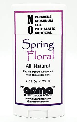 Aroma All-Natural Deodorant for Women and Men - Vegan, Gluten Free, Cruelty Free - Aluminum Free, Free of Parabens & Sulfates - Spring Floral