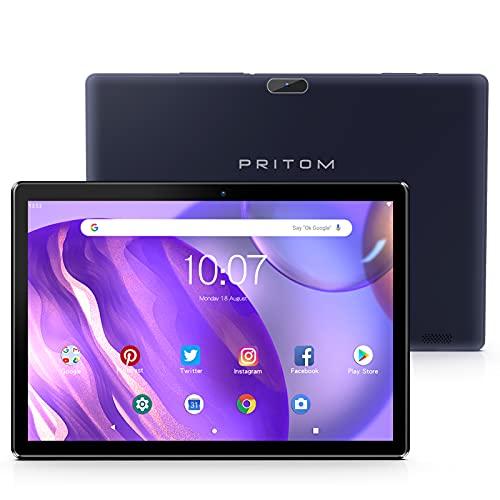 Android Tablet Pritom 10 Zoll Android 9.0 Tablett, 2 GB RAM, 32 GB ROM, Quad-Core-Prozessor, HD IPS-Bildschirm, 2.0 Front und 8.0 MP Rückfahrkamera, WLAN, Bluetooth, Tablet PC (Schwarz)