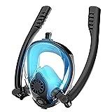 HEZHANG Máscaras de Buceo Gafas de Buceo Equipo de Snorkel a Prueba de Agua Doble Tubo Científico Anti-Niebla Aparatos de Respiración Bajo el Agua Gafas de Natación para Adultos,Azul