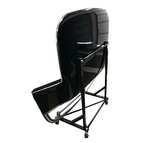 UK Custom Covers HTS050B - Soporte de tapa dura con revestimiento de polvo con ruedas de bloqueo y correa de seguridad, color negro