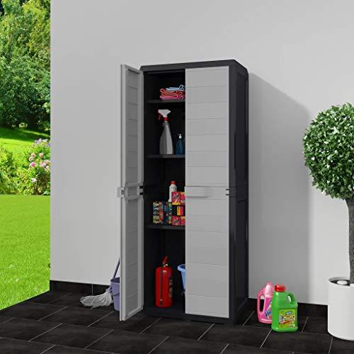 Cikonielf Hochschrank für den Außenbereich, wasserdicht, 65 x 38 x 171 cm, Gartenschrank mit 2 Türen und 3 verstellbaren Einlegeböden, belüftet, aus Polypropylen, Schwarz und Grau