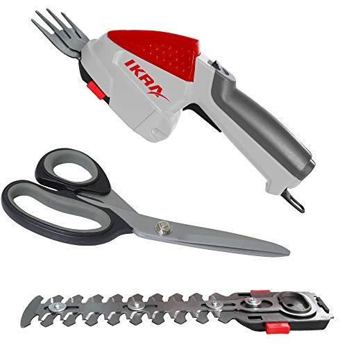 IKRA tijeras cortahierba y corta arbustos por batería '2 en 1' IGBS 1054 LI 7,2 V, incl. batería recargable, cargador, tijeras universal y bolsa