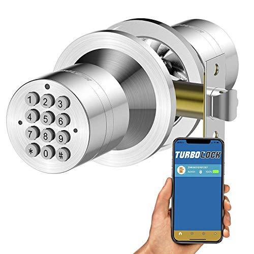 TurboLock TL-99 V2 Bluetooth Smart Lock for Keyless Entry & Live Monitoring – Send & Delete eKeys w/App on Demand (Satin Chrome)