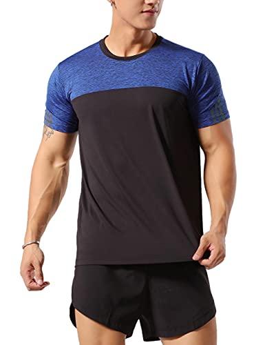 Hombres Deportes Culturismo Camisetas Fitness Aptitud física Corriendo Tops MT1-Blue Black 2XL