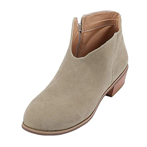 ELECTRI❤️ Women Chelsea Shoes Mid Block Heel Faux Leather Suede Ankle Boots with Pull on Elasticated Tab Rounded Toe