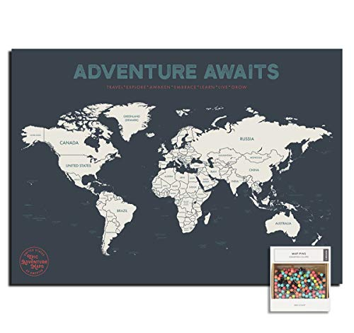 Epic Adventure Maps Push Pin World Map Poster 24' x 17' - World Travel Map Marks Your Adventures Around The World - Multicolored Pushpins Included - Travelers Gift - Traveler Wall Decor